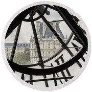 Paris Clock Round Beach Towel