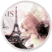 Paris Eiffel Tower Montage - Paris Romantic Pink Sepia Eiffel Tower Flower French Cottage Decor  Round Beach Towel