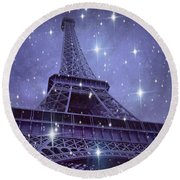 Paris Eiffel Tower Starry Night Photos - Eiffel Tower With Stars Celestial Fantasy Sparkling Lights  Round Beach Towel by Kathy Fornal