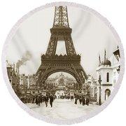 Paris Exposition Eiffel Tower Paris France 1900  Historical Photos Round Beach Towel