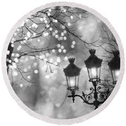 Paris Christmas Sparkle Lights Street Lanterns - Paris Holiday Street Lamps Black And White Lights Round Beach Towel