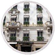 Paris Hotel Westminister Windows And Balconies - Paris Hotel Architecture - Paris Cartier Shop Round Beach Towel
