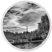Round Beach Towel featuring the photograph Paris by Howard Salmon