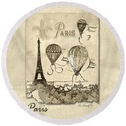 Paris In Sepia Round Beach Towel
