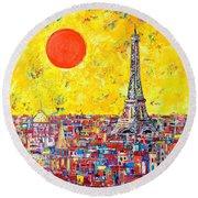 Paris In Sunlight Round Beach Towel by Ana Maria Edulescu