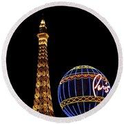 Paris In Vegas Round Beach Towel