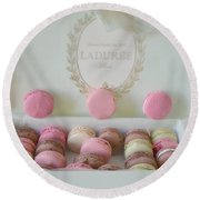 Paris Laduree Pastel Macarons - Paris Laduree Box - Paris Dreamy Pink Macarons - Laduree Macarons Round Beach Towel