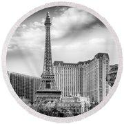 Round Beach Towel featuring the photograph Paris Las Vegas by Howard Salmon