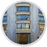 Paris Louis Vuitton Fashion Boutique - Louis Vuitton Designer Storefront In Paris Round Beach Towel