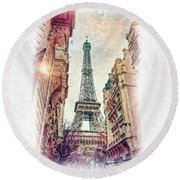 Paris Mon Amour Round Beach Towel