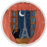 Paris Moonlight Round Beach Towel