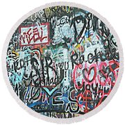 Round Beach Towel featuring the photograph Paris Mountain Graffiti by Kathy Barney