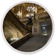 Paris Opera Garnier Grand Staircase - Paris Opera House Architecture Grand Staircase Fine Art Round Beach Towel