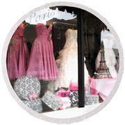 Paris Pink White Bridal Dress Shop Window Paris Decor Round Beach Towel