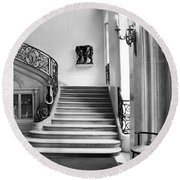 Paris Rodin Museum Black And White Fine Art Architecture - Rodin Museum Entry Staircase Round Beach Towel
