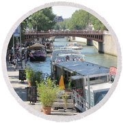 Paris - Seine Scene Round Beach Towel