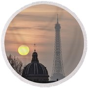 Paris Sunset I Round Beach Towel