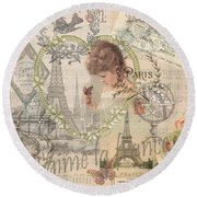 Paris Vintage Collage With Child Round Beach Towel