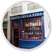 Paris Wine Shop Resto Cave A Vins - Paris Street Architecture Photography Round Beach Towel