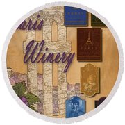 Paris Winery Labels Round Beach Towel