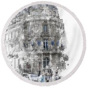 Paris With Flags Round Beach Towel