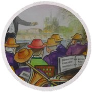 Parisian Hat Band Across From Notre Dame Cathedral Round Beach Towel by Frank Hunter