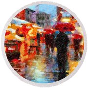 Parisian Rain Walk Abstract Realism Round Beach Towel