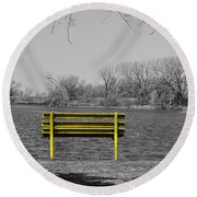 Park Bench Round Beach Towel