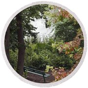 Round Beach Towel featuring the photograph Park Bench by Kate Brown