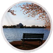 Park Bench With A Memorial Round Beach Towel