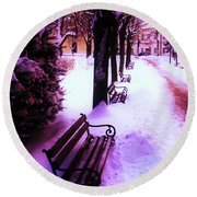 Round Beach Towel featuring the photograph Park Benches In Snow by Nina Ficur Feenan