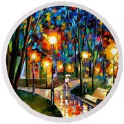 Park By The Lake - Palette Knife Oil Painting On Canvas By Leonid Afremov Round Beach Towel