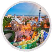 Park Guell In Barcelona - Spain Round Beach Towel by Luciano Mortula