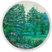 Round Beach Towel featuring the painting Park Road In Radford by Kendall Kessler