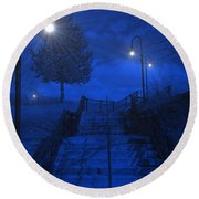 Round Beach Towel featuring the photograph Park Stairs by Michael Rucker