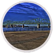 Round Beach Towel featuring the photograph Parkersburg Point Park by Jonny D