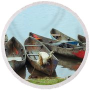 Parking Boats Round Beach Towel by Jola Martysz