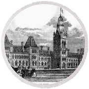 Parliament Building - Ottawa - 1878 Round Beach Towel