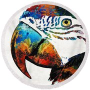 Parrot Head Art By Sharon Cummings Round Beach Towel