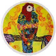 Round Beach Towel featuring the tapestry - textile Parrot Oshun by Apanaki Temitayo M