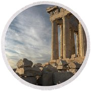 Parthenon From The South Round Beach Towel by Ellen Henneke
