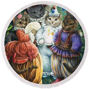 Party Cats Round Beach Towel