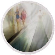 Round Beach Towel featuring the photograph Party Girls by Alex Lapidus