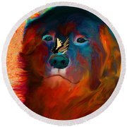 Party Pyrenees Round Beach Towel