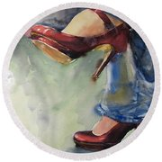Party Shoes Round Beach Towel