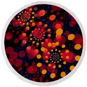 Party Time Abstract Painting Round Beach Towel