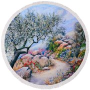 Paseo De Flores Round Beach Towel by Rosemary Colyer