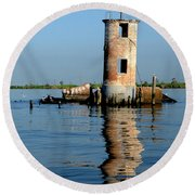Round Beach Towel featuring the photograph Pass Manchac Lighthouse by Charlotte Schafer