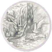 Round Beach Towel featuring the drawing Passageway At Elephant Rocks by Kip DeVore