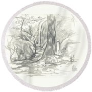 Passageway At Elephant Rocks Round Beach Towel by Kip DeVore